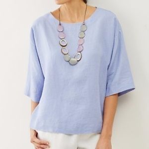 PureJill | Boxy Linen Kimono Top Periwinkle